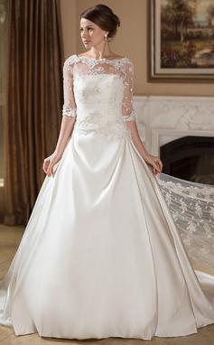 Corte De Baile/Princesa Espejismo Cola corte Satén Vestido de novia con Volantes (002004756)