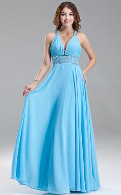 Corte A/Princesa Escote en V Hasta el suelo Gasa Vestido de baile de promoción con Volantes Cuentas Lentejuelas (018004867)