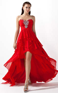 Corte A Novio Asimétrico Gasa Vestido de baile de promoción (018004808)