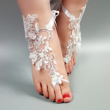 De mujer Encaje Encaje Sandalias Beach Wedding Shoes con Encaje Flor Apliques (047123799)