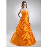 Corte A/Princesa Estrapless Hasta el suelo Tafetán Vestido de quinceañera con Volantes (021016035)