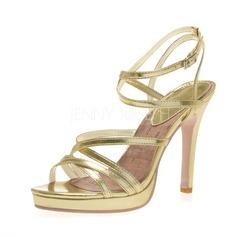 De mujer Cuero Tacón stilettos Sandalias Plataforma Encaje con Hebilla zapatos (087041250)