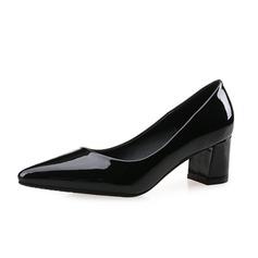 De mujer Piel brillante Tacón ancho Salón Cerrados zapatos (085074496)