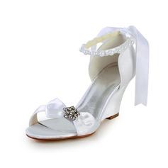 De mujer Satén Tipo de tacón Sandalias Cuñas con Bowknot Perlas de imitación Rhinestone Cordón (047026905)