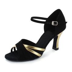 De mujer Piel brillante Nubuck Tacones Sandalias Danza latina con Tira de tobillo Zapatos de danza (053021444)