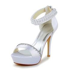 De mujer Satén Tacón stilettos Salón Sandalias con Perlas de imitación Rhinestone Cremallera (047040237)