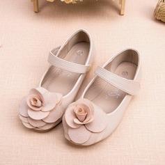 Muchacha Punta Cerrada Kunstleder Talón plano Planos Zapatos de niña de las flores con Flor (207095559)
