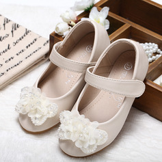 Muchacha Punta Cerrada Kunstleder Talón plano Zapatos de niña de las flores con Bowknot Rhinestone (207095554)