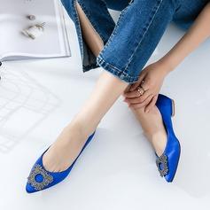 De mujer Satén Tacón plano Planos Cerrados con Rhinestone zapatos (086129685)