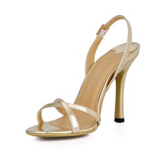 De mujer Piel brillante Tacón stilettos Sandalias Solo correa zapatos (087026359)