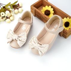 Muchacha Encaje Cuero de Microfibra Talón plano Zapatos de niña de las flores con Cuentas Bowknot Velcro (207134828)