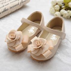 Muchacha Encaje Mary Jane Kunstleder Talón plano Planos Zapatos de niña de las flores con Bowknot Arco del satén Velcro (207112418)